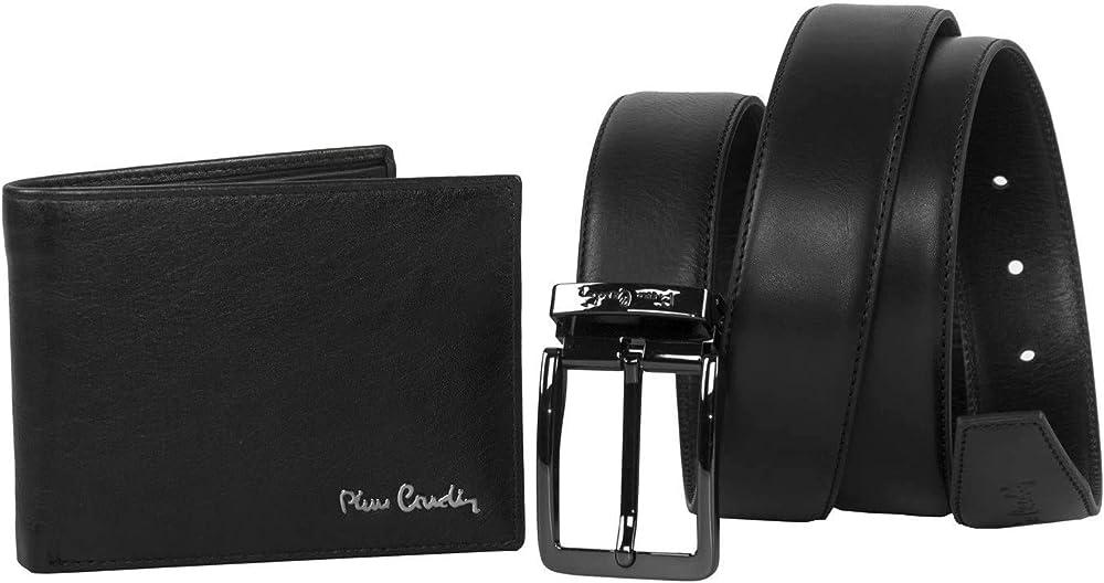 Pierre cardin,set cintura e portafoglio per uomo,in vera pelle A5291