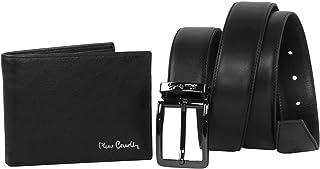 VIC Set de hombre Pierre Cardin negro auténtica piel juego cartera + cinturón 130 cm ajustable