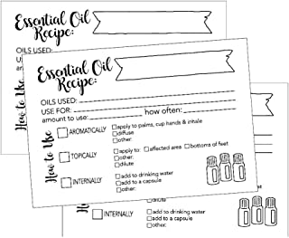 25 x 6 精油食谱卡,空白 DIY 香薰法法谱笔记本日记记事本或书初学者**扩散器香水*混合指南