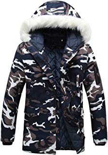 ZiXing Men's Winter Trench Coat Army Outdoor Parka Camouflage Hunting Warm Jacket Outerwear