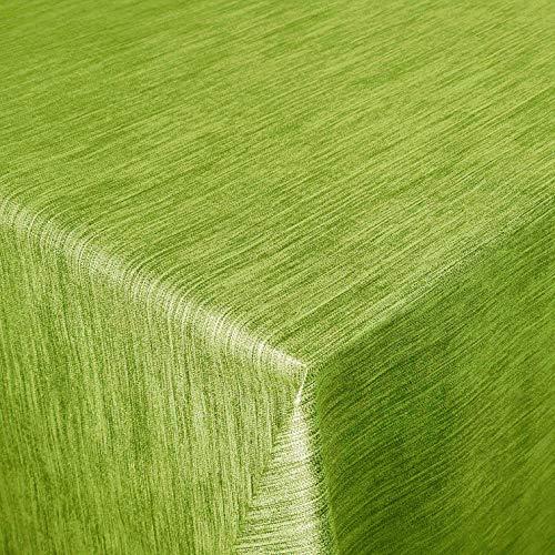 DecoHomeTextil Wachstuch Wachstischdecke Tischdecke Gartentischdecke Leinen Prägung Grün Eckig 100 x 140 cm abwaschbar gefaltet