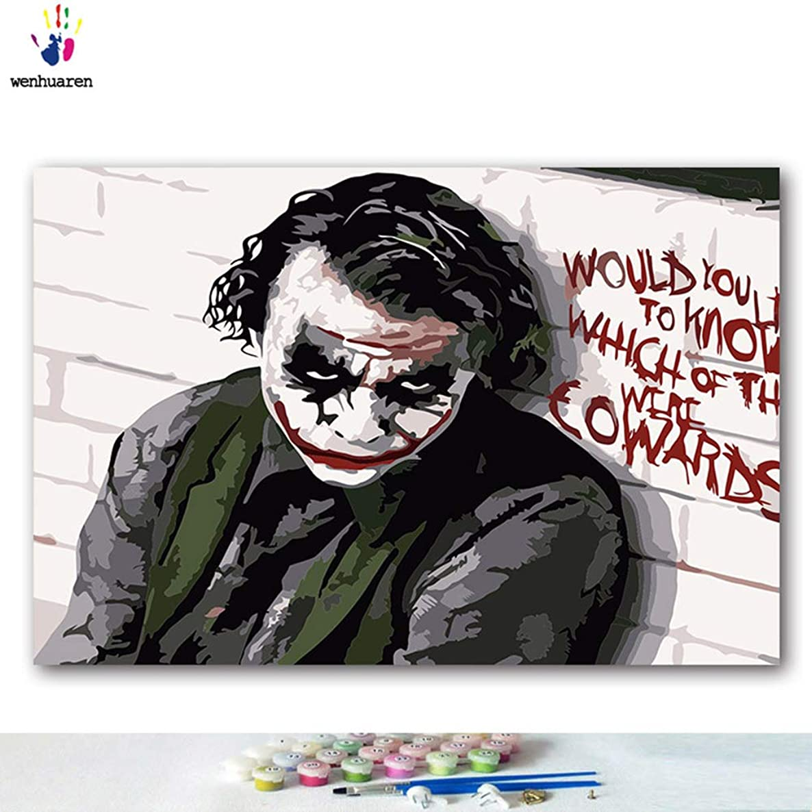 Paint by Number Kits 12 x 18 inch Canvas DIY Oil Painting for Kids, Students, Adults Beginner with Brushes and Acrylic Pigment -Suicide Squad Clown(Without Frame)
