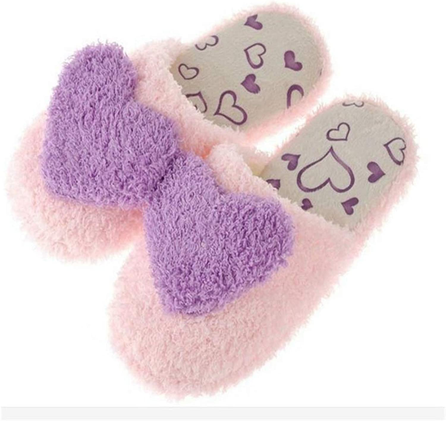 Zarbrina Winter Warm Slippers for Women Indoor shoes Heart Shaped Soft Plush Cute Design Ladies Home House Floor