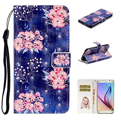 Nadoli Verkörpern 3D Bewirken Elegant Rosa Blumen Entwurf Pu Leder Ständer Karte Halter Magnetisch Lanyard Brieftasche Flip Hülle Tasche für Samsung Galaxy S6 Edge