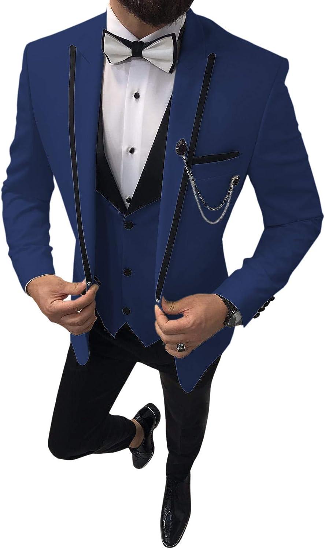 Aesido Fashion Design Men's Suits Prom Tuxedos 3 Pieces Slim Fit Formal Suit for Wedding Groomsmen(Blazer+Vest+Pants)