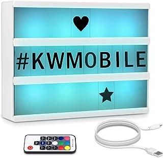 kwmobile Farbwechsel LED Lichtbox A4 mit Fernbedienung - 126 schwarze Buchstaben USB-Kabel - Kino Lightbox Leuchte - Deko ...