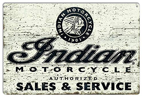 Sp567encer Vintage Motorcycle Signs Indiase motorfiets verkoop sinds 1901 in de leeftijd van motorgarages Art Metal Sign