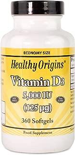 Healthy Origins 5000 IU Vitamin D3 Liquid Gels - Pack of 360