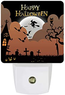 Plug-in Night Lights Happy Halloween Gloomy Night Castle Pumpkin and Flying Witch LED Night Lamp with Auto Dusk-to-Dawn Sensor Warm White Light for Bedroom/Bathroom/Hallway/Kid's Room