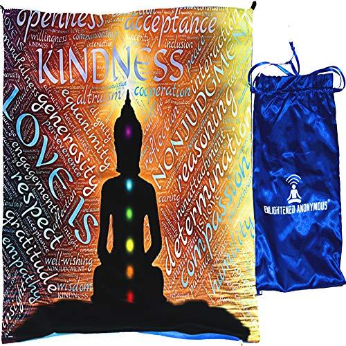 Buddha meditation mat, meditation gift for men & women, wall decor, tapestry wall hanging, mindfulness cushion cover, travel yoga mat, budda wall art, satin bag, velvet premium chakra mat, buddha meditation cushion square, zen gift, buddhist decor