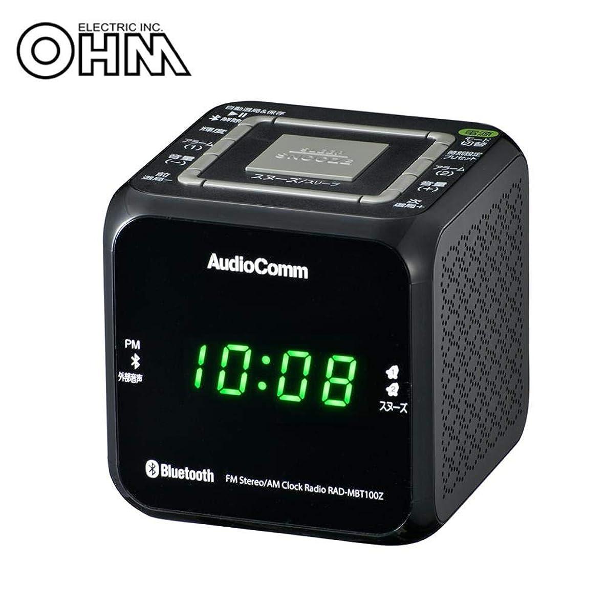 ミスバルブ既にキューブデザインのクロックラジオ。 OHM AudioComm Bluetooth クロックラジオ ブラック RAD-MBT100Z-K 〈簡易梱包