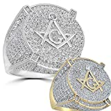 Harlembling Real Solid 925 Silver Mens Freemason Masonic Ring - Sizes 7-13 - Iced Out Hip Hop Ring (Yellow-Gold, 7)