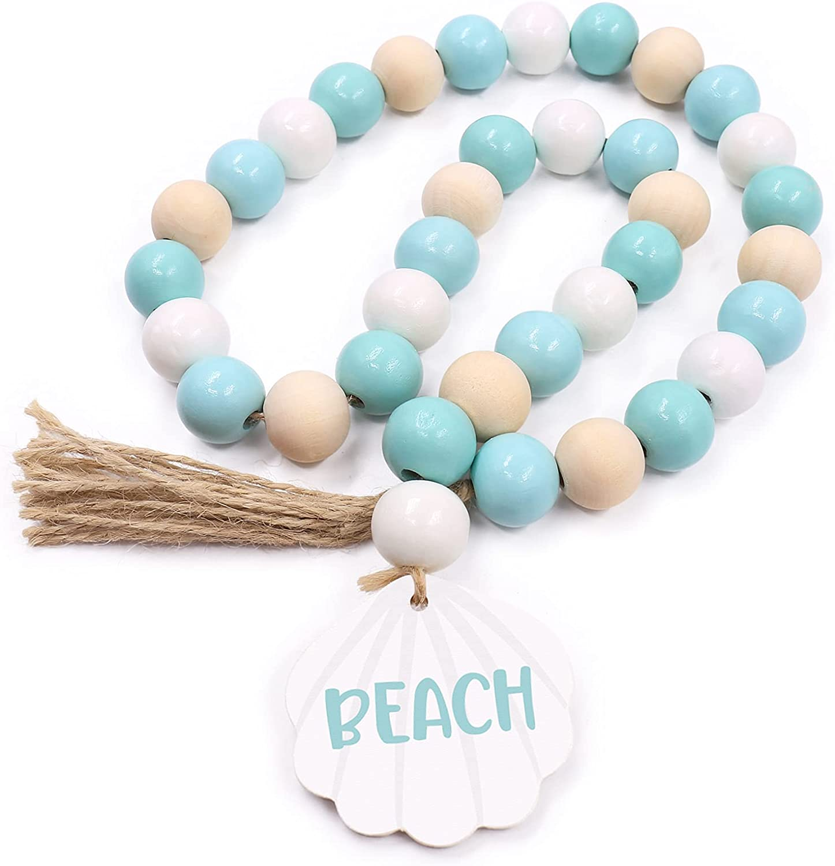 Beach Seashell Wood Bead Garland with Jute Tassels Summer Farmhouse Garland Coastal Beach Home Decor Beach Rae Dunn Decor