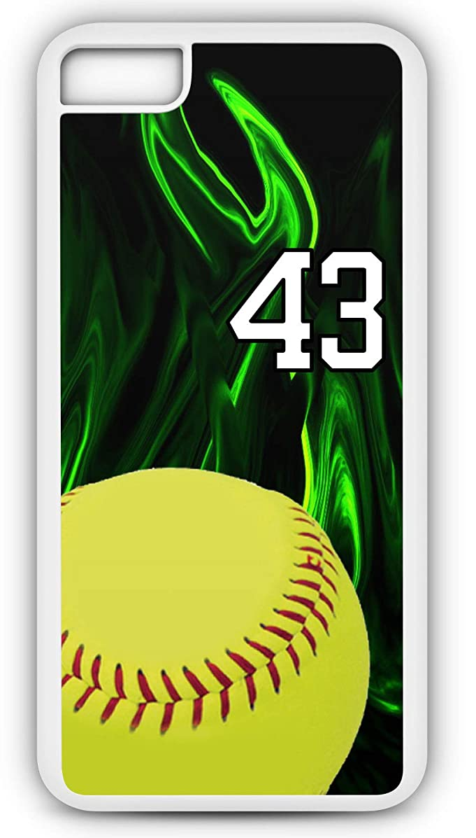 iPhone 6s Phone Case Softball S011Z by TYD Designs in White Rubber Choose Your Own Or Player Jersey Number 43