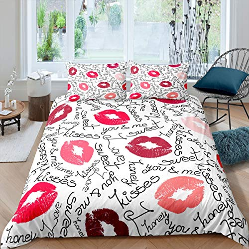Loussiesd Kiss Comforter Cover Feminine Red Lips Bedding Set for Girls Children Women Lipstick Print Duvet Cover Stain Resistant Sexy Mouth Pattern Decor Decor Super King Quilt Cover 3Pcs