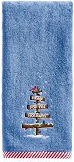 St. Nicholas Square Through The Woods Home for The Holidays Hand Towel, Blue