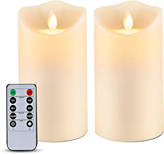 """Homemory 6"""" x 3.25"""" Outdoor Waterproof Flameless Candles, Flickering Moving Flame LED Candles, Battery Operated Candles wi..."""