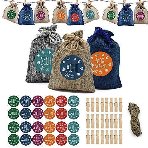 Adventskalender zum Befüllen, DIY Weihnachts-Adventskalender Befüllen, Countdown-Adventskalender-Füllungen Mit 24 Aufklebern, Kordelzug-Taschen Als Geschenk, Weihnachtsdekoration Süßigkeiten
