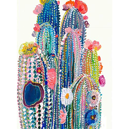 5D Full Round Drill Diamond Painting Kit,DIY Diamond Number Rhinestone Painting Kits Adults Embroidery Arts Craft Cactus 11.8x15.7 in By LANSUER