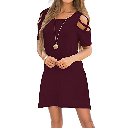 f57eac66cfd8 Womens Dresses Cold Shoulder Round Neck Loose Tunic Casual T Shirt Dress