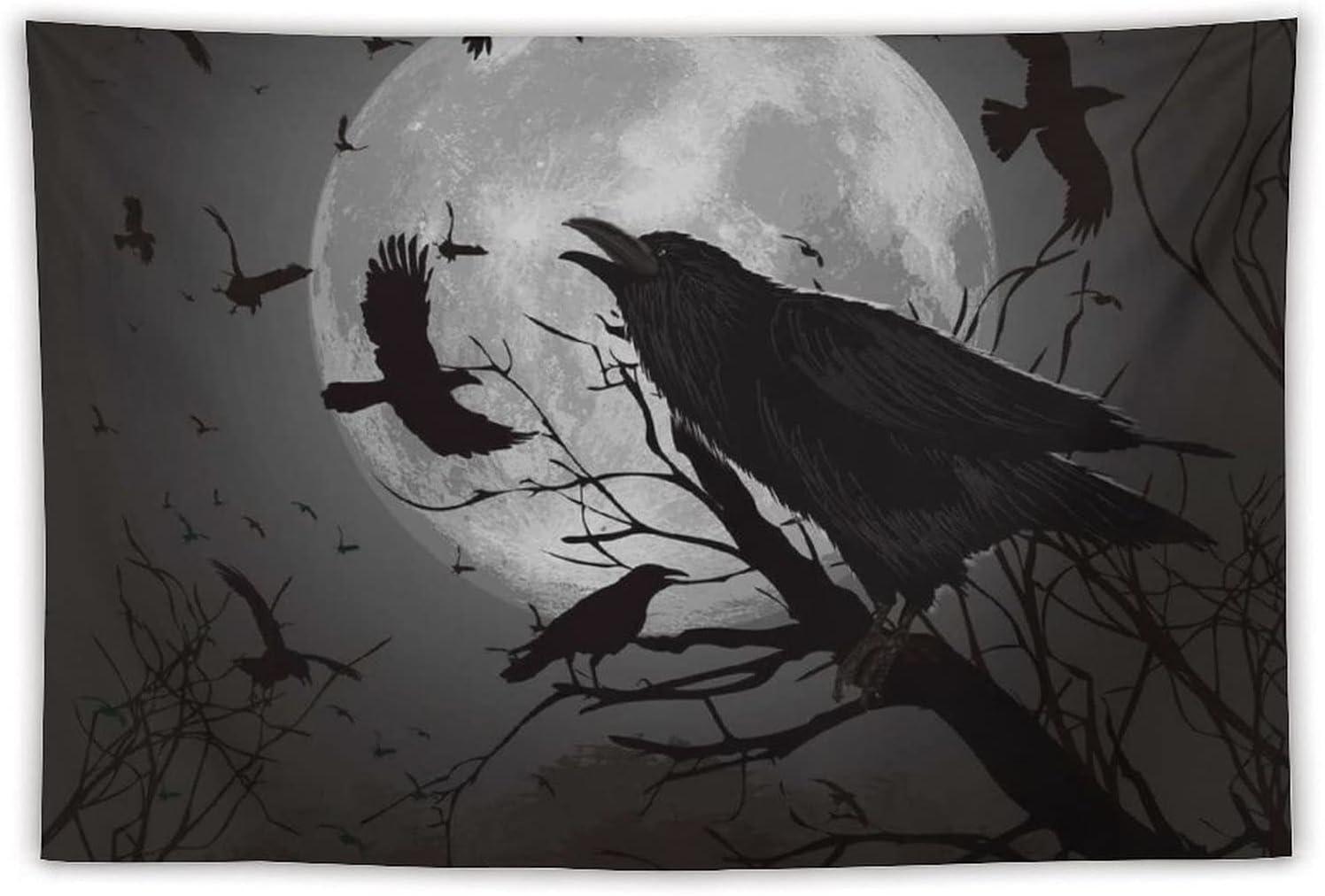 Manta Tapiz Para Colgar En Pared,Luna de cuervos volando sobre, Estera Picnic Decoración Sala Estar,40x60