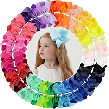 """30pcs Big 6"""" Hair Bows Clips Solid Color Grosgrain Ribbon Larger Hair Bows Alligator Clips Hair Accessories for Baby Girls Infants Toddlers Kids Teens (30Colors/30Pcs)"""