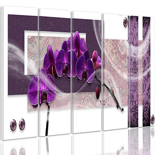 Feeby Frames, Leinwandbild, Bilder, Wand Bild - 5 Teile - Wandbilder, Kunstdruck XXL, Typ C, 250x120 cm, MODERN, Glamour, Orchidee, RECHTECKE, VIOLETT, WEIß