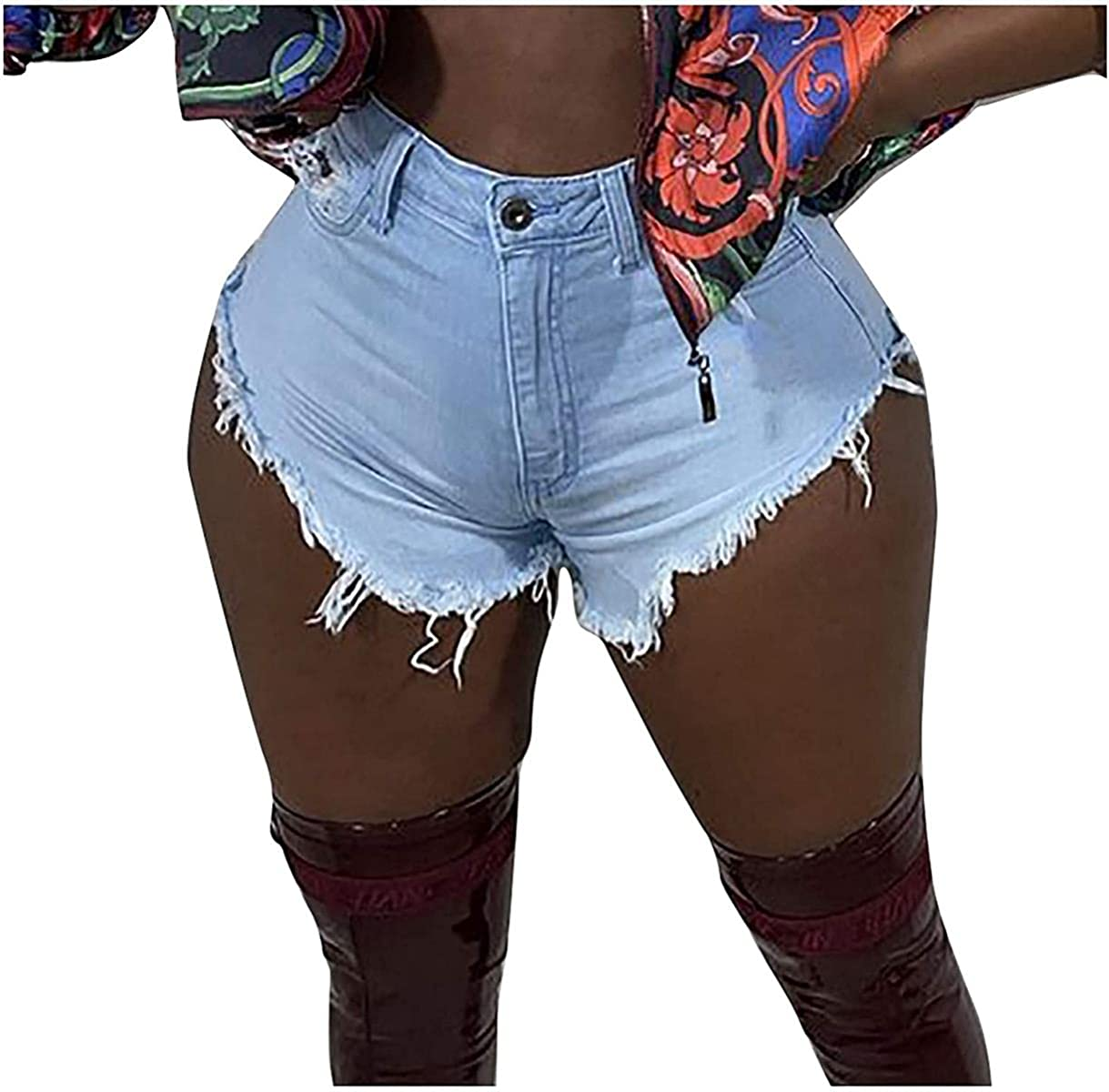 Summer Jean Shorts for Women Distressed Ripped Cut Off High Waisted Denim Shorts
