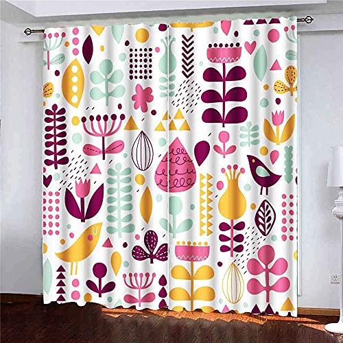 Gardiner 2 paneler ljusa blommönster fåglar blommor romantisk kant in kan användas webbsida bakgrunder yta underbar för vardagsrum sovrum dekor