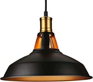 LEONLITE Industrial Barn Pendant Light, Edison Vintage Style Hanging Barn Lampshade Fixture, Classic Matte Black, UL Listed, E26 Base, for Kitchen, Pool Table, Dining Room, Bar Counter