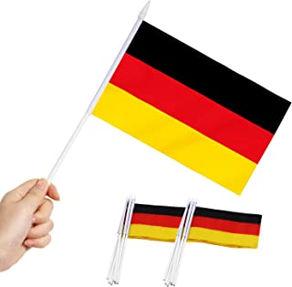 """Germany Stick Flag, ANLEY German 5x8 inch HandHeld Mini Flag With 12"""" White Solid Pole - Vivid Color and Fade Resistant - ..."""