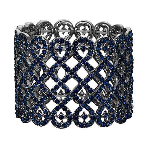 EVER FAITH Damen Armband österreichischer Kristall Art Deco Love Knot breites Braut-Stretcharmband Armreif Armkette Blau Schwarz-Ton