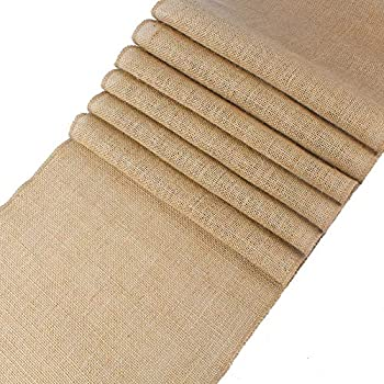 mds Pack of 10 Wedding 12 x 108 inch Burlap Table Runner Natural Jute Country Vintage for Wedding Banquet Decoration – Natural Jute Burlap