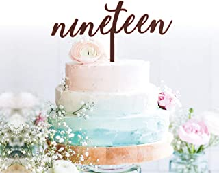GrantParty Nineteen Rose Gold Cake Topper | 19th Birthday Anniversary Wedding Party Decoration Ideas| Perfect Keepsake (19 Rose Gold)