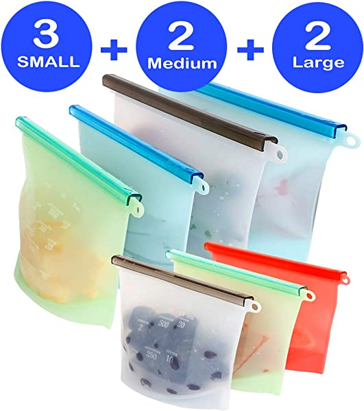 Reusable Silicone Food Storage Bags 7 Pack Airtight Seal Food Silicone Bag Container For Liquid Meat Sanwich Fruit Best For Preserving And Cooking 2xLarge 2xMedium 3xSmall Dishwasher Safe
