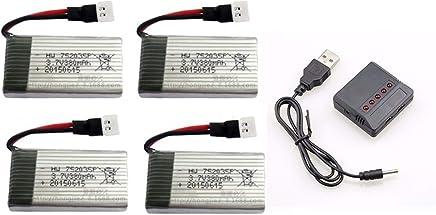 kit 4 Bateria 380mah 3.7v e 1 carregador 5x1Para Drone Hubsan X4 H107 E Fq777 Ml212 e similares