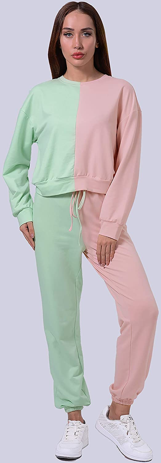 2 Piece Outfit for Women Solid Long Sleeve Tracksuit Pullover Tops and Long Pants Set
