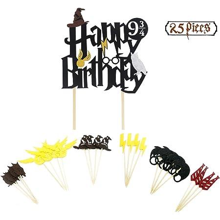 U&X Topper Cupcake ispirati allo stregone, Topper per torta ispirata al nero ispirato al compleanno a doppia faccia (set di 25), Forniture per decorazioni per feste di compleanno di Wizard.