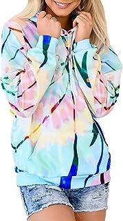 Aleumdr Women's Casual Tie Dye Pullover Sweatshirt Long Sleeve Drawstring Hoodies Tops Sky Blue Small Size