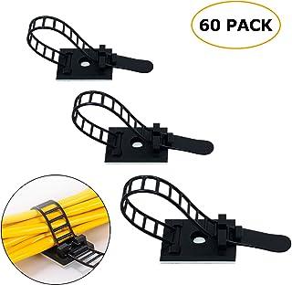 60 Piezas ajustable Cable Tie Bracket abrazadera de cable clip de alambre de gestión de Cable negro para ordenador electrónico eléctrico cableado de comunicación y fija (Negro)