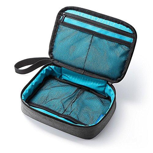 サンワダイレクト トラベルポーチ ガジェットポーチ 旅行 出張 便利グッズ マウス ケーブル モバイルバッテリー 収納ポーチ グレー 200-BAGIN005GY