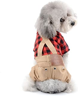 SELMAI Dog Overall Pet Clothes for Small Dog Red Plaid Button Down with Khaki Bib Pants Outfits Soft Breathable Onesies Jumpsuit for Puppy Boys Cat Apparel for Walking Outdoor Spring Autumn