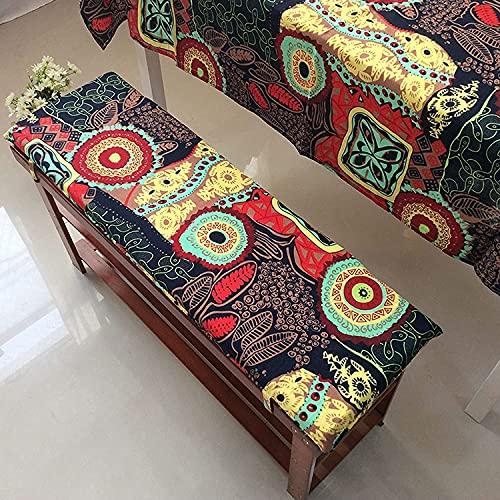Muyuuu Cojín de banco largo con corbatas de fijación, estera de silla de swing de jardín, colchón rectángulo lavable de reemplazo para 2 3 plazas de patio muebles o banco de comedor 100% algodón cojín