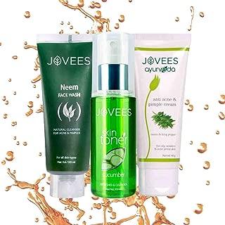 Jovees Acne Prone Skin Routine (Set of 3) Neem Face Wash & Cucumber Toner and Anti Acne Pimple Cream