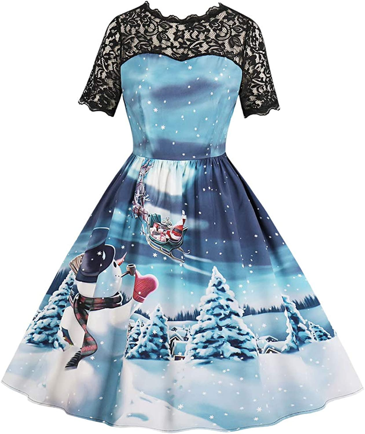 FUZHUANGHM Christmas Print Women Dress Round Collar Short Sleeves Lace Party Dress