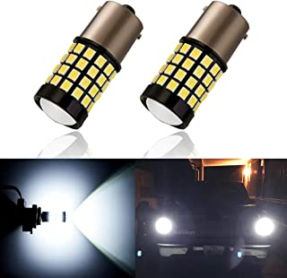 ANTLINE Newest 1156 LED Bulb White (2 Pack),  9-30V Super Bright 1600 Lumens 1141 1003 7506 BA15S 52-SMD LED Lamps with Projector for Replacement,  Work as Turn Signal Blinker Side Marker Lights