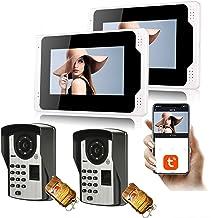 Tuya WiFi Video Deurbel, Intercom, Vingerafdruk Wachtwoord Home Security Video Deurtelefoon, 7 Inch Monitor Display + 1080...