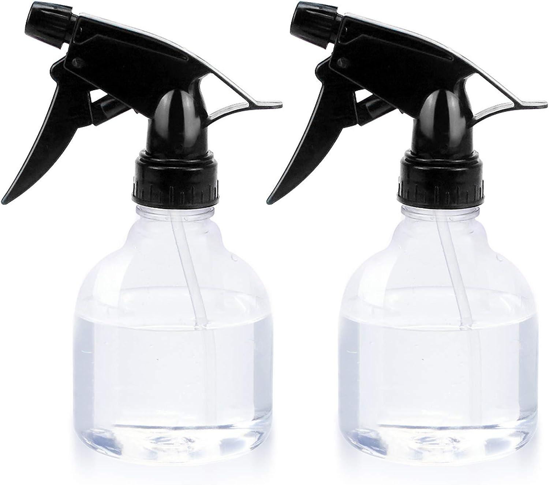 Besylo Botella de Spray, 2pcs Botella de Spray Vacías, Botella de Spray de Plástico,con pulverizadores de gatillo Ajustable, para Plantas de Interior Flores Hierbas Home Garden (250 ml, Transparente)