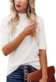 Women's Plain T-Shirt Blouses Slim Fitted Half Sleeve...