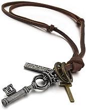 MunkiMix Aleación Genuina Cuero Colgante Collar Plata Clave Llave Corona Cruzar Cruz Vendimia Vintage Retro Ajustable 16~26 Pulgada Cadena Hombre,Cadena